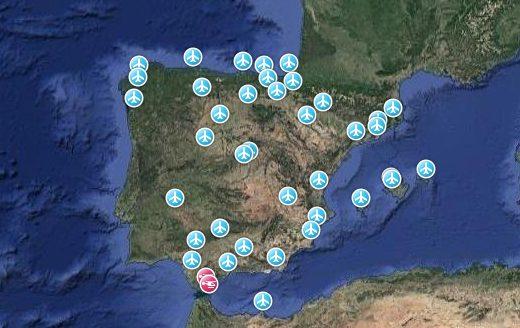 Red de Aeropuertos de Aena en la Península Ibérica