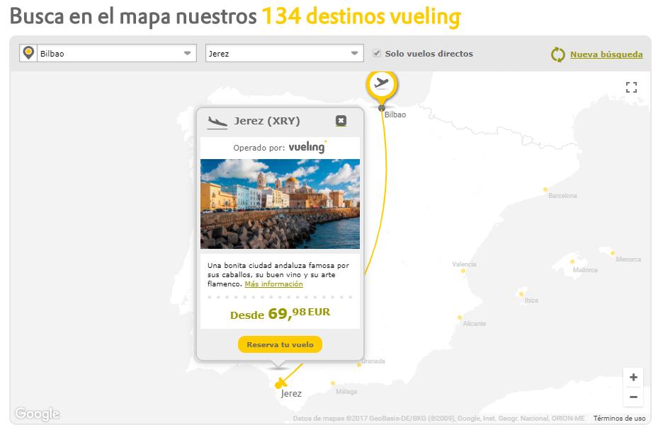 Jerez ya figura entre los enlaces directos desde Bilbao en el mapa de destinos de Vueling