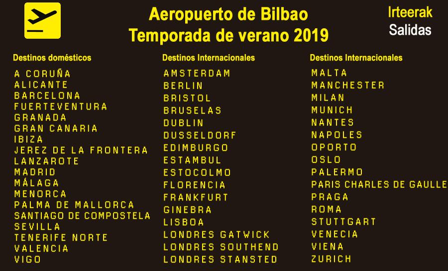 Todos los destinos desde Bilbao en vuelo regular en la temporada de Verano 2019