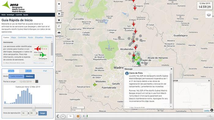 Imagen de la aplicación Webtrack del Aeropuerto de Madrid